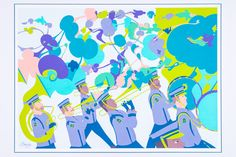 Marching Band No.1  Visit www.jakeberryart.com to see the whole collection of marching band prints.   Limited Edition 10 colour silk-screen print.