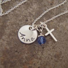 """Little girl's cross and name necklace with pearl or birthstone crystal accent  - Tiny 3/8"""" Sterling Silver name necklace"""