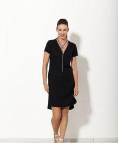 a96746cb67 Party dress midi dress Zipper front dress Linen by natafashion Dark Summer