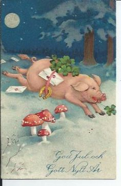 vintage Danish Happy New Year card