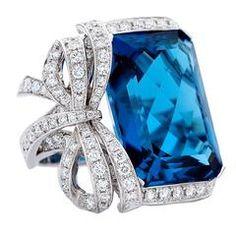 London Blue Topaz Gold Bow Ring