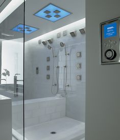 Kohler DTV custom shower - digital menu control of complete shower experience at the touch of a button for steam, audio, lighting and chromatherapy #omg  http://www.us.kohler.com/performanceshowers/dtv.jsp