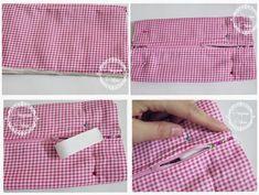 Çocuklar İçin Kumaş Kalemlik Dikelim-Resimli Anlatımlı - Tiny Mini Design Casual Shorts, Sew Bags, Sewing, Ideas, Handmade Bags, Scrappy Quilts, Sewing Techniques, Cosmetic Bag, Tutorials