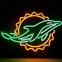 Miami Dolphin Open Neon Sign///How I love you neon signs , Real nice for my Home Bar Deco