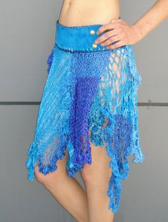 Crochet asymetrical hem skirt with blue suede by rubyjeanjewelry, $139.00