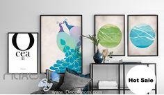 Ocean Peacock Green Blue Canvas Prints Wall Decals Kids Art Decor Unframed IDCCV-BO-000228