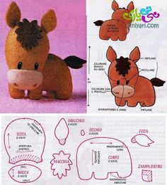 DIY Kawaii Felt Horse / Foal with FREE Sewing Pattern / Template looks more like a donkey to me, but very cute. Sewing Toys, Sewing Crafts, Sewing Projects, Felt Projects, Felt Diy, Felt Crafts, Sewing Patterns Free, Free Sewing, Felt Patterns Free