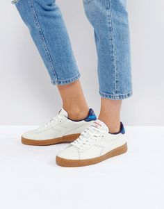 Diadora Game L Low Sneakers In White And Blue - White
