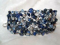 Blue Bracelet Cuff beaded wire crochet bracelet 75 by HettyMarie, $20.00- gorgeous!