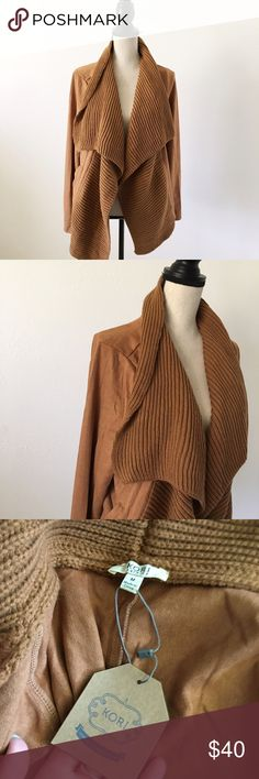 suede + knit oversized cardigan NWT! in perfect condition! so so so soft and cute. runs big 25% off of bundles! Boutique Sweaters Cardigans