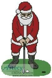 Santa Playing Golf - Christmas cross stitch pattern designed by Tereena Clarke. Category: Santa.