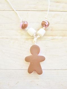 Necklace gingerbread figure pink white brown kids from poppyshome by DaWanda.com