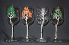 Handpainted Wine Glasses-aspen Tree 4 Season Set by 4SeasonsArt4You on Etsy