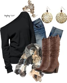 """Black & Brown"" by taytay-268 ❤ liked on Polyvore"