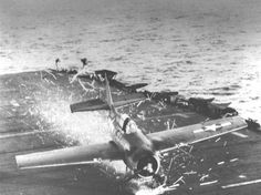 WWII Airplane crash landing on US Aircraft Carrier