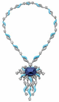 Bulgari gold necklace with sapphires, turquoise and diamonds, from the High Jewelry Collection