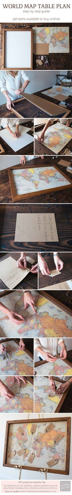 How to make a world map wedding table plan - step by step guide #travelwedding #weddingtableplan by @theweddimgomd