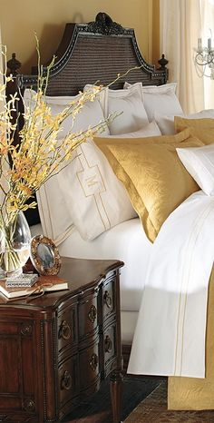 How to Dress Up Your Bed: Creating a Designer Look at Home. Click this pin for details.  | Frontgate Blog