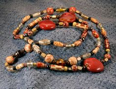 Red Porcelain Tan Brown Wood Glass Beads 40 by AnotherOriginal, $39.00