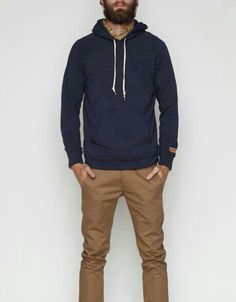 Casual. Men's Fashion.- fall hoodie and khakis
