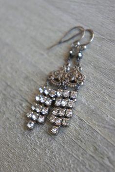 Vintage assemblage earrings rhinestones by frenchfeatherdesigns $58.00