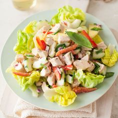 Chicken Salad with Cucumber, Red Pepper, and Honey-Mustard Dressing