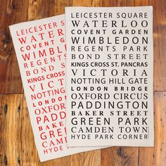 London Tube Stops tea towel, $14 from victoriaeggs