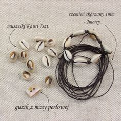 Letnia bransoletka z rzemienia i muszli Kauri Shells, Headphones, Stone, Blog, Crafts, Design, Conch Shells, Headpieces, Rock