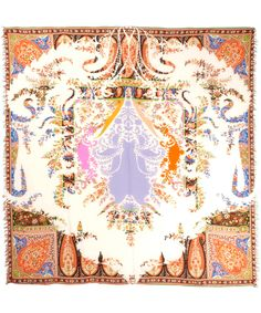 Opulent orange paisley print designer scarf from #Etro. Shop Etro here http://www.liberty.co.uk/fcp/categorylist/dept/accessories_scarves #LibertyScarves