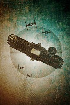 Beautiful Star Wars Millennium Falcon art! by JWCdesigns