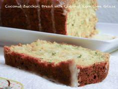 Zucchini & Coconut Bread with Coconut Rum Lime glaze - The Novice Housewife Zuchinni Recipes Bread, Coconut Zucchini Bread, Coconut Rum, Coconut Flour, Cookie Desserts, Healthy Desserts, Yummy Treats, Yummy Food, Yummy Recipes