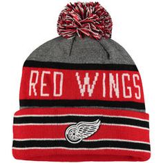 Detroit Red Wings Old Time Hockey Storm Cuffed Knit Hat with Pom - Gray Red c3b3414545f6
