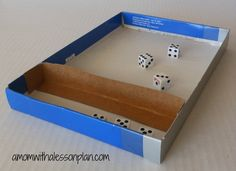 10,000 dice game -- awesome games for the entire family!  USE Braille dice or several Talking Glow dice from APH (American Printing House) Use shoe box lid to keep dice on table.