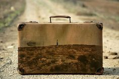 """For his project ""Memory Suitcases,"" Israeli photographer Yuval Yairi used his suitcases as a ""canvas"" for displaying his photographs. Each of the images shows a photograph of a scene in Israel displayed on the surface of old luggage."""
