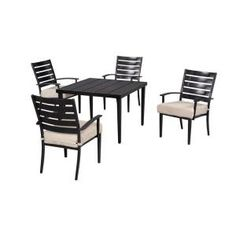 Hampton Bay Marshall 5 Piece Patio Dining Set With Textured Sand  Cushions HD14302 At