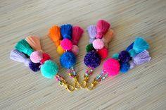 Pom pom keychain Pom pom bag charm Tassel keychain Purse Charm Boho keychain Handbag charm Tassel clip Pompom key chain Neon pink Mint by PearlAndShineJewelry on Etsy Pom Pom Bag Charm, Pom Pom Crafts, Tassel Keychain, Tassel Purse, Boho Accessories, Handmade Jewelry, Handmade Gifts, Tassels, Crochet