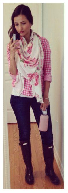Pink Gingham Shirt, Floral Scarf, Hunter Boots | Ella Pretty