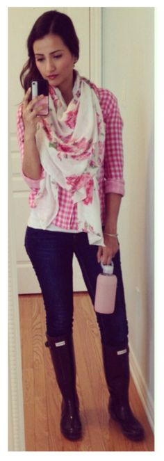 Pink Gingham Shirt, Floral Scarf, Hunter Boots | Ella Pretty