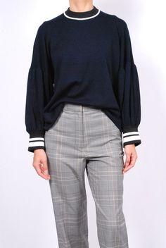 1ee80e3d92 Tibi Merino Wool Puff Sleeve Pullover- Navy Multi