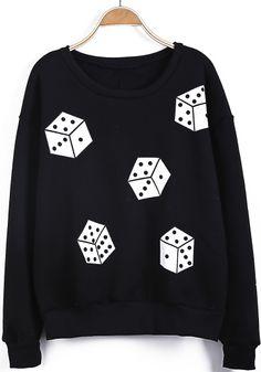 Black Long Sleeve Dice Print Loose Sweatshirt US$22.13