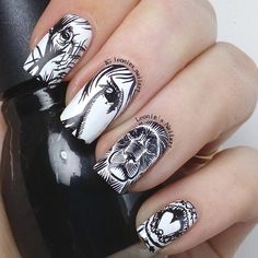 Nail Art Stamping Plates-Fuzzy and Ferocious, Set 1 Hawaiian Flower Nails, Tropical Flower Nails, Silver Nails, Black Nails, White Nails, Cute Nail Art, Easy Nail Art, Nail Art Designs 2016, Nail Art Stamping Plates