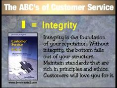 The ABC's of Customer Service. This 10 minute video is GREAT to use as a tutorial for employees. It will get them to focus on the essential steps needed to offer the best customer service anywhere. Learn more at www.ServiceAtoZ.com