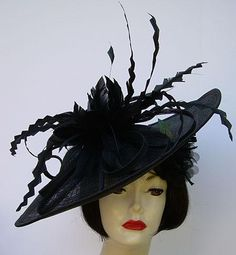 Black Large Profile Feather Fascinator