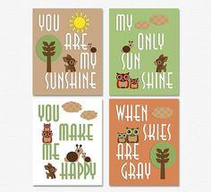 Woodland nursery Art Print Set - 5X7- Kids wall, baby boy, forest friends, woodland, brown, green, deer, snail, owl - UNFRAMED