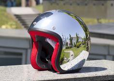 Chrome Silver DOT Cafe Racer Bobber Motorcycle Helmet