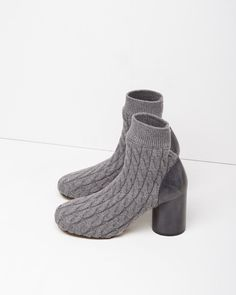 MAISON MARGIELA LINE 22 | Cable-Knit Sock Bootie | Shop at La Garçonne