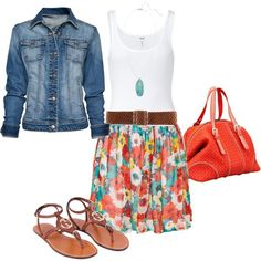 A fashion look from May 2012 featuring long shirts, blue jackets and white skirt. Browse and shop related looks.
