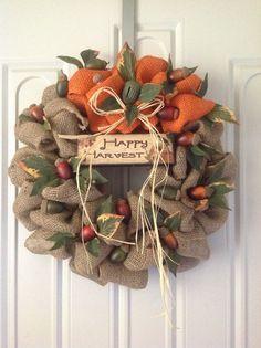 Fall Burlap Wreath by TammysFlowersandmore on Etsy, $40.00