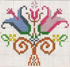 Tulip, traditional cross stitch pattern