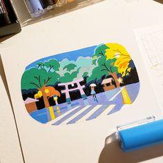 21 Days In Japan: Artist Recreates Scenes Of Japan Through Pleasing Pastel-Colored Illustrations Posca Marker, Marker Art, Planet Drawing, Japan Illustration, Posca Art, Art Journal Techniques, Pen Art, Copics, Art Sketchbook